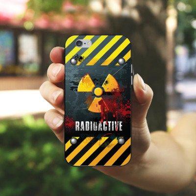 Apple iPhone X Silikon Hülle Case Schutzhülle Radioactive Blut Atom Silikon Case schwarz / weiß