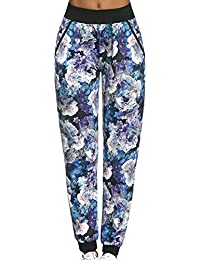 Bas Bleu Chalice Pantalones Largos Deportivos Para Mujeres Estampado Multicolor Floreado Cintura Regular Con Boslillos - Hechos En La UE