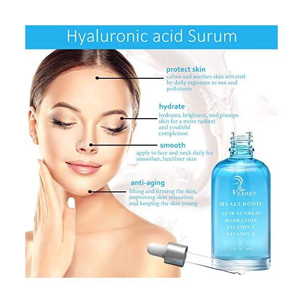 VSADEY Suero de ácido hialurónico para rostro con vitamina C natural y vitamina E, suero tópico hidratante facial antienvejecimiento y antiarrugas 30 ml