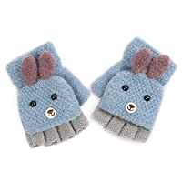Jiaxingo Kids Knitted Mittens Winter Gloves Autumn and Winter Toddler Baby Warm Gloves Fingerless Half Gloves Knitted Gloves Girls Boys Cycling Gloves 2-6 years old