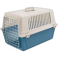 Ferplast Transportbox Atlas 30 für Hunde und Katzen bis zu 15 kg – Stabile Tragebox in Blau mit Weiß - inkl. ergonomischem Griff – Maße: 60 x 40 x 38 cm