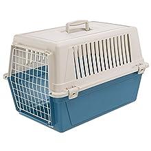 Ferplast Rigid Carrier for Small-Sized Dogs and Cats Atlas 30 EL, Pet Transport Box, Sturdy Plastic, Plastic-coated Steel Door, Ventilation Grills, 40 x 60 x h 38 cm Blue