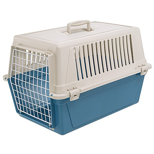 Ferplast Rigid Carrier for Small-Sized Dogs and Cats Atlas 30 EL, Pet Transport Box, Sturdy Plastic, Plastic-coated Steel Door, Ventilation Grills, 40 x 60 x h 38 cm Blue