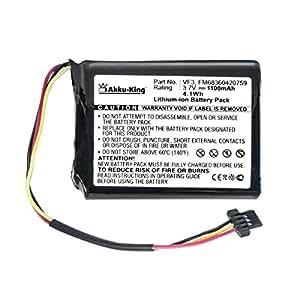 Akku-King Batterie pour TomTom Quanta, XL IQ Routes -remplace VF3, FM68360420759 /MAXWELL 653443 - Li-Ion 1100mAh