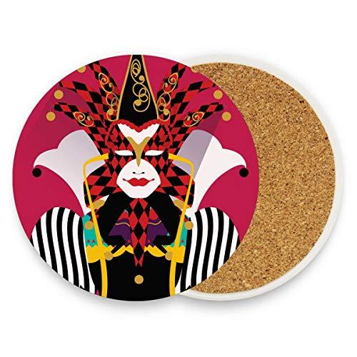 Kostüm-Joker, rot, rund, saugfähig, Keramik, Steine, Getränke-Untersetzer, Kaffeetassen, Matten-Set für Zuhause, Büro, Bar, Küche (Set von 1 Stück), keramik, multi, ()