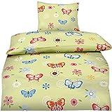 Aminata - Bettwäsche 135x200 Mädchen Schmetterlinge grün Jugendliche Baumwolle Teenager rot