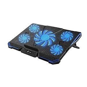 KLIM Cyclone Base Refrigerante para Portátil - Base de Refrigeración Potente con 5 Ventiladores para Ordenador - Gaming Azul [ Nueva 2019 Versión ]