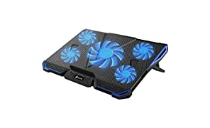 KLIM CYCLONE Laptop Cooler - Maximal Cooling - 5 fans - Cooling Pad for Computer - Gamer Gaming ( Blue )