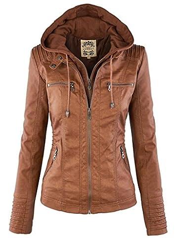 FANTIGO Women's PU Leather Zip Up Hooded Biker Bomber Jackets Outwear Classic Vintage Winter Overcoat Brown M
