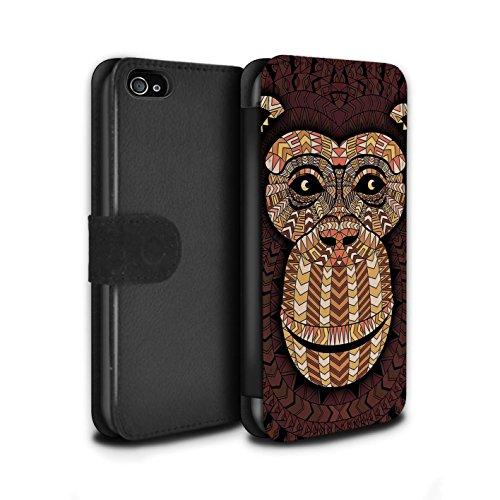 Stuff4® PU-Leder Hülle/Case/Tasche/Cover für Apple iPhone 4/4S / AFFE-Orange Muster/Aztec Tier Muster Kollektion (Affe Iphone 4s)