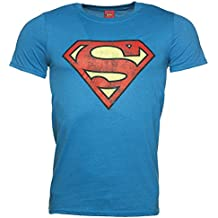 Mens Bright Blue Distressed Superman Logo T Shirt