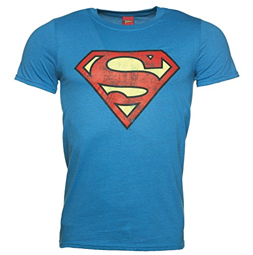 Mens Bright Blue Distressed Superman Logo T Shirt (Logo Blue Distressed T-shirt)