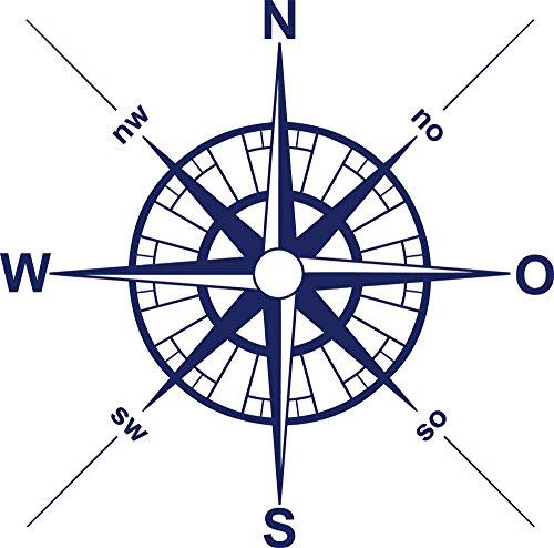 GRAZDesign Wandaufkleber Teenager Sportler Himmelsrichtungen - Home Dekoration modern Kompass - Wandtattoo Windrose Kompassrose / 51x50cm / 660029_50_049