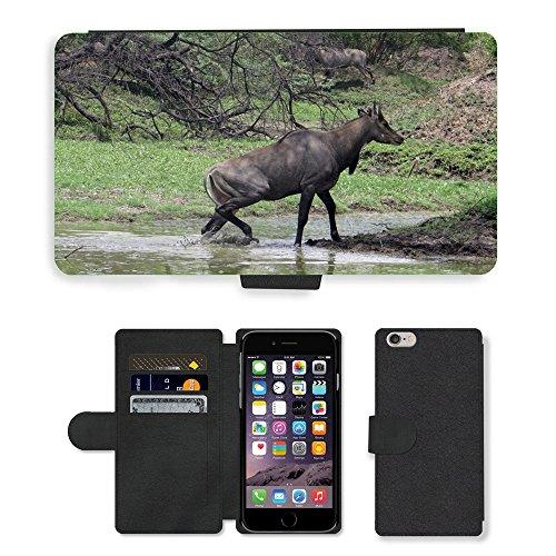 Just Mobile pour Hot Style Téléphone portable étui portefeuille en cuir PU avec fente pour carte//m00138610antilope Nilgaut antilope//Apple iPhone 6Plus 14cm