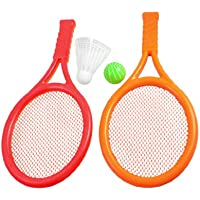 Children Play Game Orange Red Plastic Tennis Badminton Racket Toy Set
