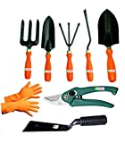 Easy Gardening - Garden Tools Kit (8Tools) Weeder,Trowel Big,Trowel Small,Cultivator,Fork, Pruner, Khurpi, Orange