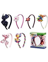 Bundle Monster 6pc Cute Handmade Grosgrain Ribbon Bows Girl Hair Headbands - Assorted Mix Lot Set