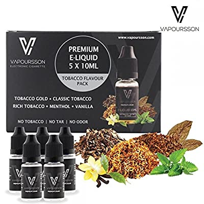 VAPOURSSON 5 X 10ml E Liquid | Classic Tobacco | Tobacco Gold | Rich Tobacco | Menthol | Vanilla | New Super Grade Formula To Create A Super Strong Flavour with Only High Grade Ingredients | Made For Electronic Cigarette and E Shisha from Vapoursson