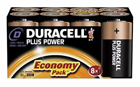 Duracell MN1300 Plus Power Alkaline D Size Batteries (Pack of