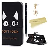 Mavis's Diary Galaxy A3 Cover ,Samsung Galaxy A3 Case (2017 Model) - Wallet Flip Bumper Cover PU Leather Case Shockproof Prints Design with Soft Inner TPU Case Slim Fit Folio Stand Protective Magnetic Closure Cover with Dust Plug & Stylus for Samsung Galaxy 2017 A3 - Don't Touch My Phone