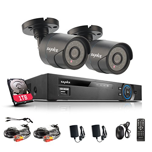 ANNKE Sannce Professional 3-in-1 HD 720P CCTV DVR w/ 2x 720P Weatherproof Security Camera System  1TB HDD, HDMI Output, IP66 Weatherproof Housing, E-Cloud Service, QR Code Scan Quick Access