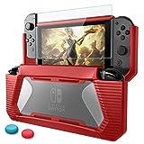 Nintendo Switch Hülle mit Schutzfolie,HEYSTOP TPU Schwerlast Schutzhülle Cover for Nintendo Switch mit Stoßdämpfung und Anti-Scratch(Rot)