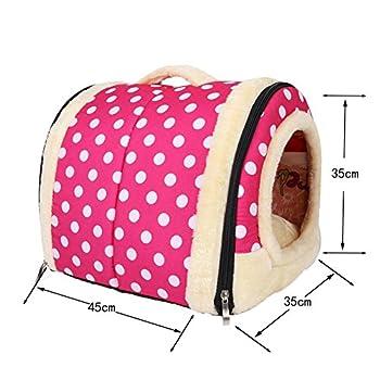 Chien Pet Nest, multifonctions Chaud Petite Maison Mini intérieur/extérieur Motif Brick Vintage Folding Tente légère Animal conçue pour chiots et chatons repos ? (M, Point d'onde rose)