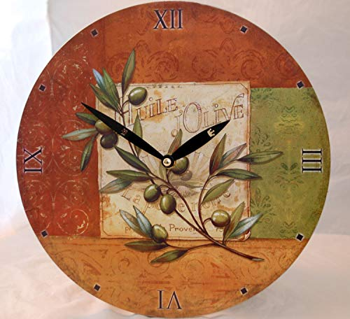 IMC Manufactoria Wanduhr Motiv Olive mediterran günstig Uhr Küchenuhr Küche Esszimmer Wohnzimmer