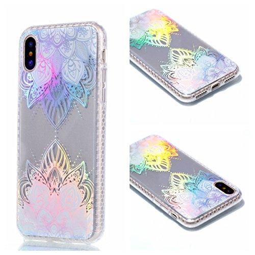 Pour Apple Iphone X Case Cover, Ecoway TPU Soft Motif de placage en couleur personalized pattern Housse en silicone Housse de protection Housse pour téléphone portable pour Apple Iphone X - diamant Rose