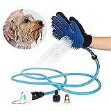 takestop® Waschhandschuh mit Sprüchen Wasser Glove Bürste Bad PETTINEN lang MASSAGGIANT Hund Katze Massage