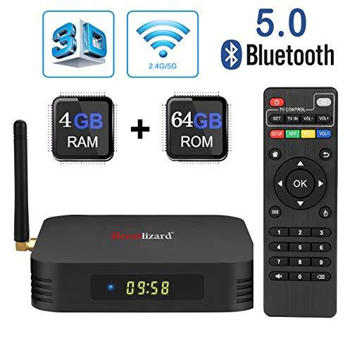 Android 9.0 TV Box, Greatlizard TX6 TV Box 4GB RAM 64GB ROM BT5.0 Dual WiFi 2.4G+5G Quad Core 4K 6K 3D HD Smart TV Box