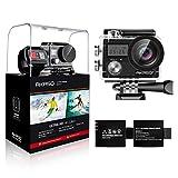 AKASO Action Kamera Brave 4 4K 20MP WiFi Action Cam Ultra HD mit Bildstabilisierung Bild Zoom 30m Unterwasserkamera mit Fernbedienung 2 Akkus und Zubehör Kit (Hersteller Renoviert)