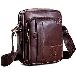 BAIGIO Borsello Uomo Pelle Marrone Borsa a Tracolla Vintage Borsa a Spalla Piccola Crossbody Bag Casual