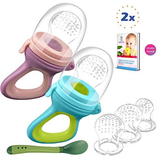 2 Fruchtsauger Baby + 1 Baybylöffel für Baby ab 3 Monate & Kleinkind + Zertifikat + 6 Silikon-Sauger in 3 Größen - BPA-frei - Schnuller Beißring für Obst Gemüse Brei Beikost + Gratis Ebook