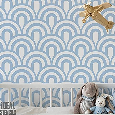 Vintage Scallop Art Deco Pattern Stencil | Home Wall Decorating Art & Craft Stencil | Paint Walls Fabrics & Furniture | 190 Mylar Reusable Stencil (L/