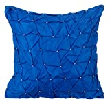 Entwerfer Königsblau kissenbezüge, Strukturierte Knotted Pintucks Einfarbig dekokissen, 50x50 inch zierkissenbezüge, Solide zeitgenössisch sofakissenbezüge, Platz Taft dekokissen - Royal Blue Texture