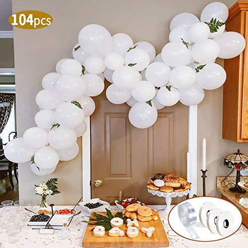 SPECOOL Luftballons Weiß Party Dekoration, 104 Stück Premiumqualität Latex Luftballons für Geburtstagsfeier Hochzeit Party und Baby Dusche Party, Baby Shower,Festival Dekoration