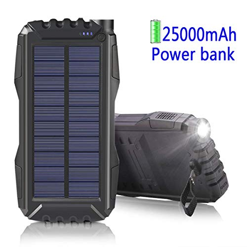 Solar Ladegerät 25000mAh,MIXSEN Outdoor Powerbank Wasserdichte mit Starken LED Licht und 2 USB Ports für iPhone, iPad,Samsung