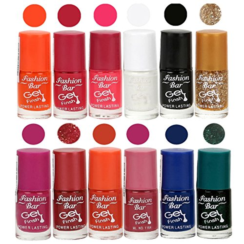 Fashion Bar Gel Nail Polish in (Orange,Deep Pink,Neon Pink,White,Black,Glitter Golden,Mazanta Purple,Shimmer Redish,Deep Orange,Dark Pink,Navy Blue,Glitter Green Shades)