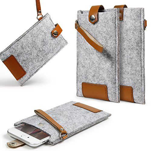 Urcover® Universal 4,7 Zoll Smartphone / Handy-Hülle Sleeve in Grau / Braun | Mobiltelefon-Tasche aus Filz | Robustes Cover | Handy-Tasche Case | Schutz-Hülle