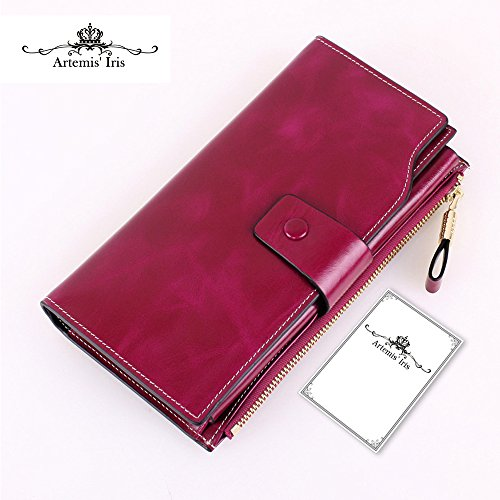 Artemis'Iris Women Luxury Wax Genuine Leather Wallet Large Capacity Multi