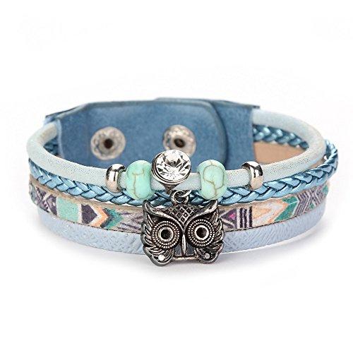 Qiuday Eulen Armband Größenverstellbar, owl/vintage/ethno/hippie/must have/statement/Surfer Armband - Strandschmuck - lässig - Armband - Armreif - Textilarmband
