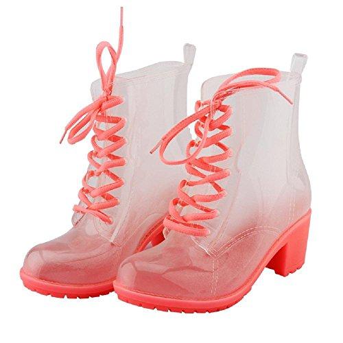 Moda Martin antiscivolo stivali da pioggia Pink