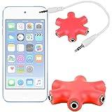 DURAGADGET Divisor De Auriculares Rojo Para Apple iPod Touch ( 6 / 5 / 4 / 3 / 2 / 1 Generación ) - ¡¡Conecte Hasta 6 Auriculares A La Vez Y Comparta Su Música!