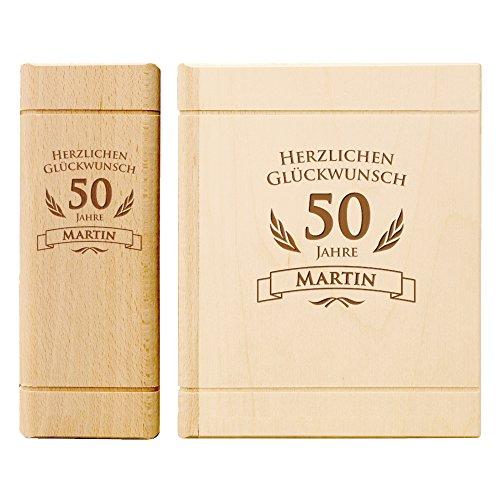 Spardose Buch aus Holz zum 50. Geburtstag mit Gravur - Personalisiert mit Namen - Sparbüchse aus Ahornholz - 13,5 cm x 16,5 cm x 6,5 cm