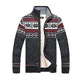 GWELL Herren Strickjacke mit Fleece Jacquard Verdickte Sweater Cardigan Strickpullover mit Reißverschluss Stehkragen Grau S