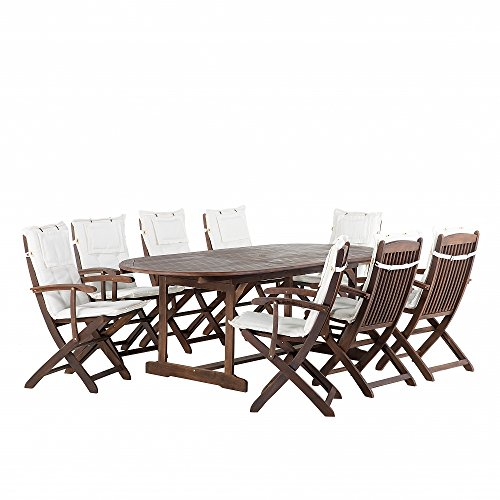 Gartenmöbel - Balkonmöbel - Holzmöbel - Tisch + 8 Sessel + 8 Beige Auflagen – MAUI