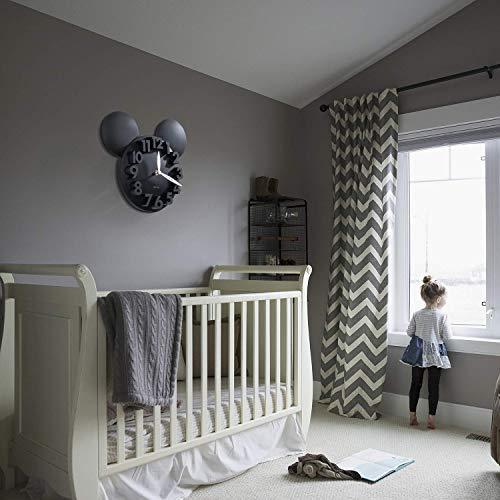 51q5RslmUIL - Sanch Ancha Mickey Mouse - Reloj de Pared con Pilas, para decoración del hogar, para habitación de niños, 3D, 3D, 3D, 31,75 cm, Color Negro