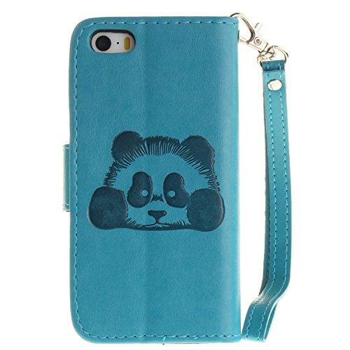 Meet de Red Panda gaufré pour Apple iphone 6 Plus /iphone 6S Plus Case, Folio pour Apple iphone 6 Plus /iphone 6S Plus PU Housse,Wallet / flip étui / Pouch / Case / Holster / Wallet / Case en cuir Wal bleu