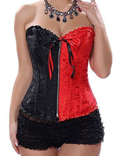 DODOING Frauen Damen Front Zipper Overbust Korsett Corsage Korsage Bustier Oberseite mit Reißverschluss, Schwarz Rot Schwarz&Rot